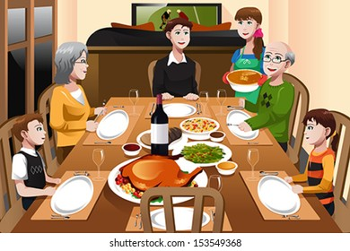 Family Dinner Cartoon Images Stock Photos Vectors Shutterstock