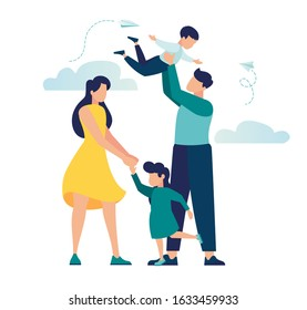 vector illustration of a happy family, mother father daughter son holding hands and hugging, complete prosperous family vector
