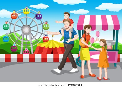 A vector illustration of a happy family recreation in the amusement park