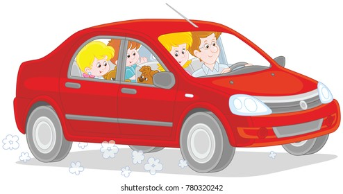 Vector illustration of a happy family with small children riding by car
