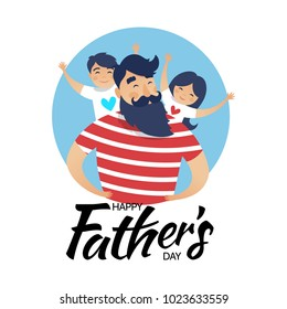 Vector illustration, happy father with a son and a daughter. Happy Father's day card design.