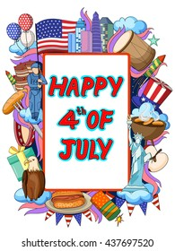 vector illustration of Happy Fourth of July doodle background
