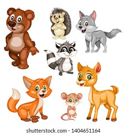 Vector Illustration of a Happy Fox,  Bear, Deer, Wolf, Hedgehog, Raccoon, Mouse, Nightingale. Cute Cartoon Forest Animals Isolated on a White Background. Happy Animals Set