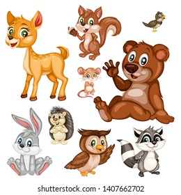 Vector Illustration of a Happy Fox, Rabbit, Bear and Nightingale. Cute Cartoon Forest Animals Isolated on a White Background. Happy Animals Set