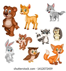 Vector Illustration of a Happy Fox, Rabbit, Bear, Deer, Wolf, Hedgehog, Owl, Raccoon, Squirrel, Mouse, Nightingale. Cute Cartoon Forest Animals Isolated on a White Background. Happy Animals Set