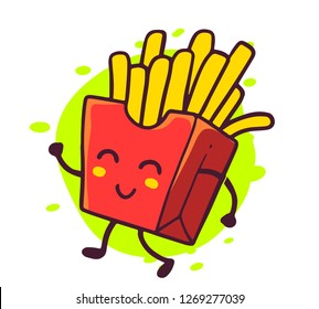 Vector illustration of happy french fries character on white background. Yellow french fries in red box. Line art style design for web, poster, banner, print