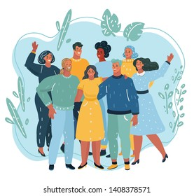 Vector illustration of Happy friendship day friend group of people hugging together for special event celebration. People standing together. Team, coworkers, friends or relatives.