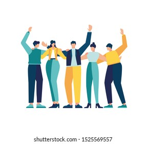 Vector illustration, happy friendship day with a diverse group of friends of people hugging together to celebrate a special event.