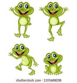 Vector Illustration of a Happy Frog Set. Cute Cartoon Frogs in Different Poses Isolated on a White Background. Happy Animals Set. Frog Waving, Cheering, Walking, Sitting