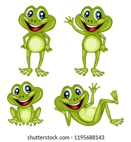 Vector Illustration of a Happy Frog Set. Cute Cartoon Frogs in Different Poses Isolated on a White Background. Happy Animals Set. Frog Laying, Cheering, Waving, Sitting