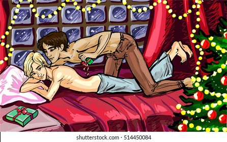 Vector illustration of a happy gay couple celebrates Christmas night at home. Laying in the bed, sharing gifts in a cozy room with Christmas tree and glowing lights garlands. card, postcard, poster.