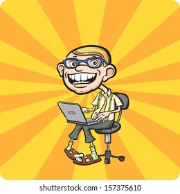 Vector illustration of Happy geek sitting with laptop. Easy-edit layered vector EPS10 file scalable to any size without quality loss. High resolution raster JPG file is included.