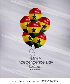 Vector illustration of  Happy Ghana Independence Day 06 March. Balloons with flags isolated on gray background.