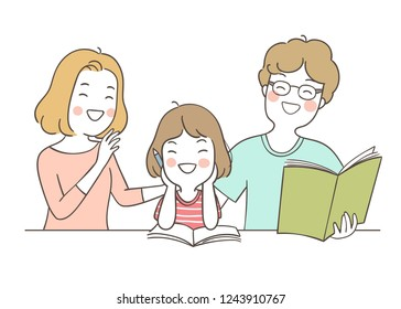 Vector illustration happy girl reading with mother and father.Isolated on white color.Draw doodle cartoon style.