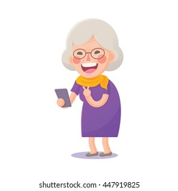 Vector Illustration of Happy Grandma Selfie on Smart Phone Isolated  on White Background, Cute Cartoon Character