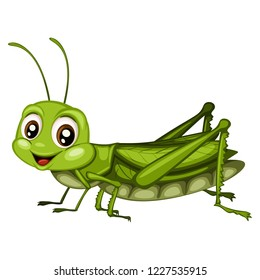 Vector Illustration of a Happy Green Grasshopper. Cute Cartoon Grasshopper Isolated on a White Background. Happy Insects Set