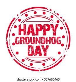 Vector illustration of Happy Groundhog Day Stamp.