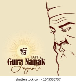 Vector illustration for happy guru nanak jayanti.