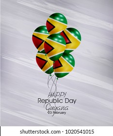 Vector illustration of  Happy Guyana Republic Day 23 Februay. Balloons with flags isolated on gray background.