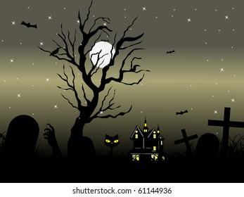 vector illustration of happy halloween background
