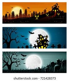 Vector illustration of Happy Halloween banner set