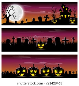 Vector illustration of Happy Halloween banner set with scary pumpkins