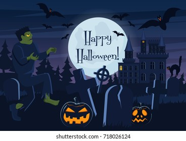 Vector illustration of Happy Halloween postcard and graveyard with zombie, pumpkin creatures and decorations.