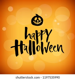 Vector illustration happy Halloween seamless background with hand drawing elements-pumpkin, Ghost, bat, candy, skull, on orange and black background.  Autumn poster for Halloween. Lettering for logo.