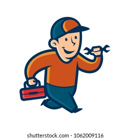 Vector illustration of a happy handyman.