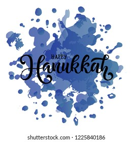 Vector illustration of Happy Hanukkah for calendar, invitation, greeting card, postcard, typography poster. Jewish Festival of Lights. Handwritten modern lettering. Inspirational quote on background.