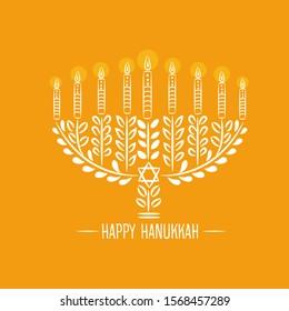 vector illustration of Happy Hanukkah with Judaic religion symbol.