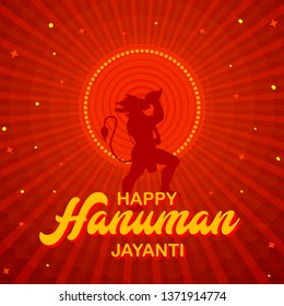 Vector illustration of Happy Hanuman Jayanti Festival, celebrates the birth of Lord Sri Hanuman, Poster, Banner, Logo - Vector