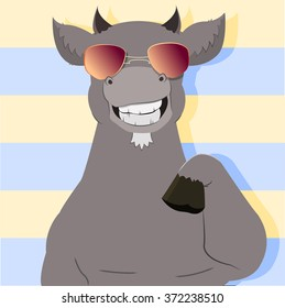 Vector illustration with a happy hipster like goat giving a five