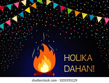 Vector Illustration for Happy Holi India holiday celebration. Fire, flags and the text Holika Dahan. Greeting card