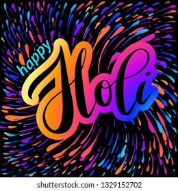 Vector illustration of Happy Holi lettering for Festival of Colors. Celebration colorful greeting calligraphy with splash of paint isolated on black background.