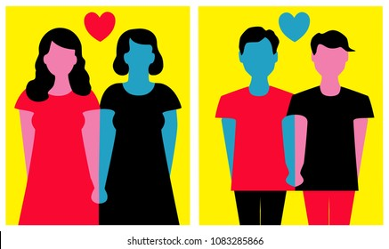 Vector illustration of happy homosexual men and women couples.