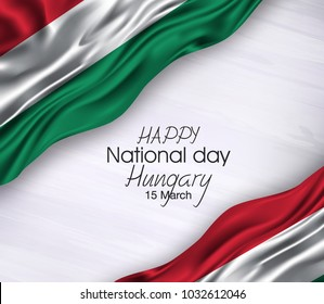 Vector illustration of Happy Hungary  National Day 15 March. Waving flags isolated on gray background.