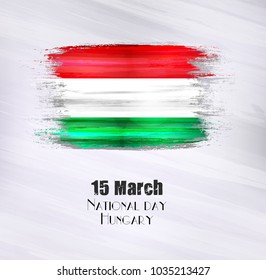 Vector illustration of Happy Hungary National day 15 March. Old grunge flag isolated on gray background.