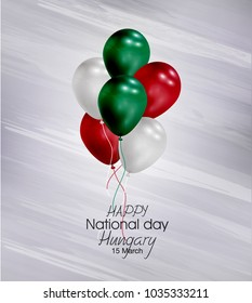 Vector illustration of  Happy Hungary National Day 15 March. Balloons with flags isolated on gray background.