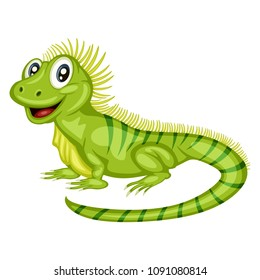 Vector Illustration of a Happy Iguana. Cute Cartoon Iguana Isolated on a White Background. Happy Animals Set