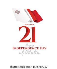 vector illustration. Happy Independence Day of Malta. Celebrated on 21 September. festive design graphics, symbolic colors and flags and happy people