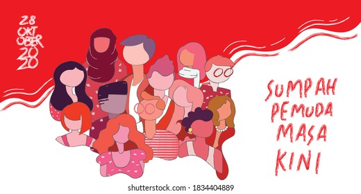 Vector illustration. Happy Indonesian Youth Pledge, meaning Selamat Hari Sumpah Pemuda. Suitable for greeting card, poster and banner design