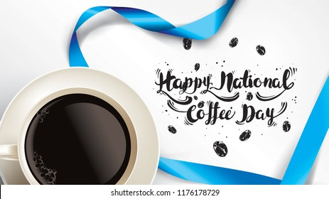 Vector illustration of happy International or national Coffee Day with hand lettering. Suitable for greeting card, poster and banner. mobile background
