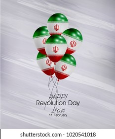 Vector illustration of  Happy Iran Revolution Day 11 Februay. Balloons with flags isolated on gray background.
