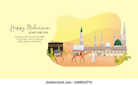 Vector illustration Happy Islamic New Year. Happy New Hijri year. Islamic illustration design for banners template, landing page, hero image, poster, flyer, print and social media