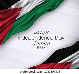 Vector illustration of Happy Jordan Independence Day 25 May. Waving flags isolated on gray background.