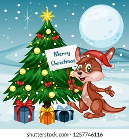 Vector Illustration of a Happy Kangaroo Next to Christmas Tree. Wearing a Christmas Hat and holding Text Banner. Cute Cartoon Kangaroo Cheering On Winter Background. Happy Animals Set