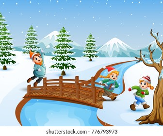 Vector illustration of Happy kid on the bridge in the snowing hill