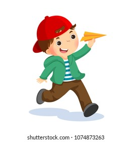 Vector illustration of happy kid playing with paper airplane