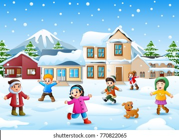 Vector illustration of Happy kid playing in the snowing village